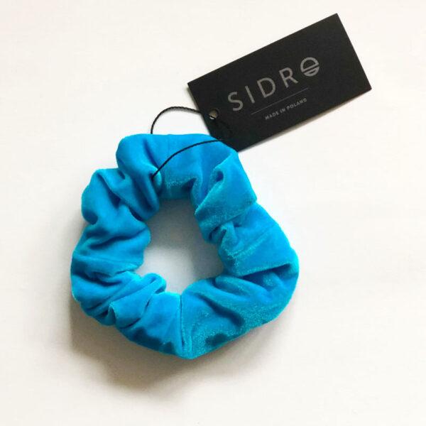 Sidro welurowa gumka do włosów - turkusowa